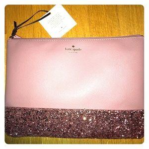New Kate spade Greta court pink glitter pouch